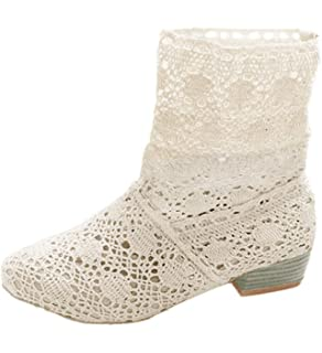 Minetom Mujer Verano Otoño Sandalias de Cuña Platform Tobillo Boots Respirable Encaje Hueco Redonda Toe Zapatos
