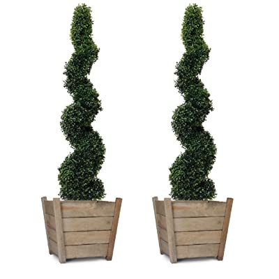 Artificial Spiral Boxwood Topiary Trees 4ft/120cm - BEST Quality (Set of 2) : Home & Kitchen