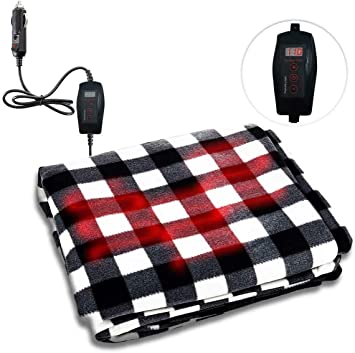 Road Trip and Camping Premium Quality 12V Automotive Red Plaid Polar Fleece Material Comfortable Seat Blanket Great for Winter Zone Tech Car Travel Blanket Home