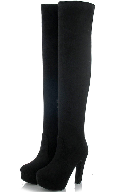 6c8e4db3b7726 BIGTREE muslo alto Botas Mujer Alto Tacón PU Cuero Caída casual del bloque Plataforma  de invierno Botas sobre la rodilla Ante negro