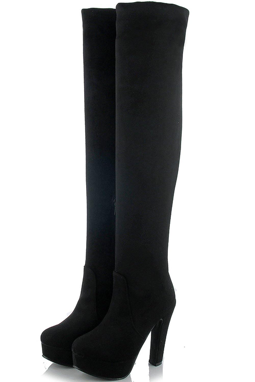 52d5194273c3 Zapatos para mujer BIGTREE Botas altas del muslo Mujer Tacón alto ...