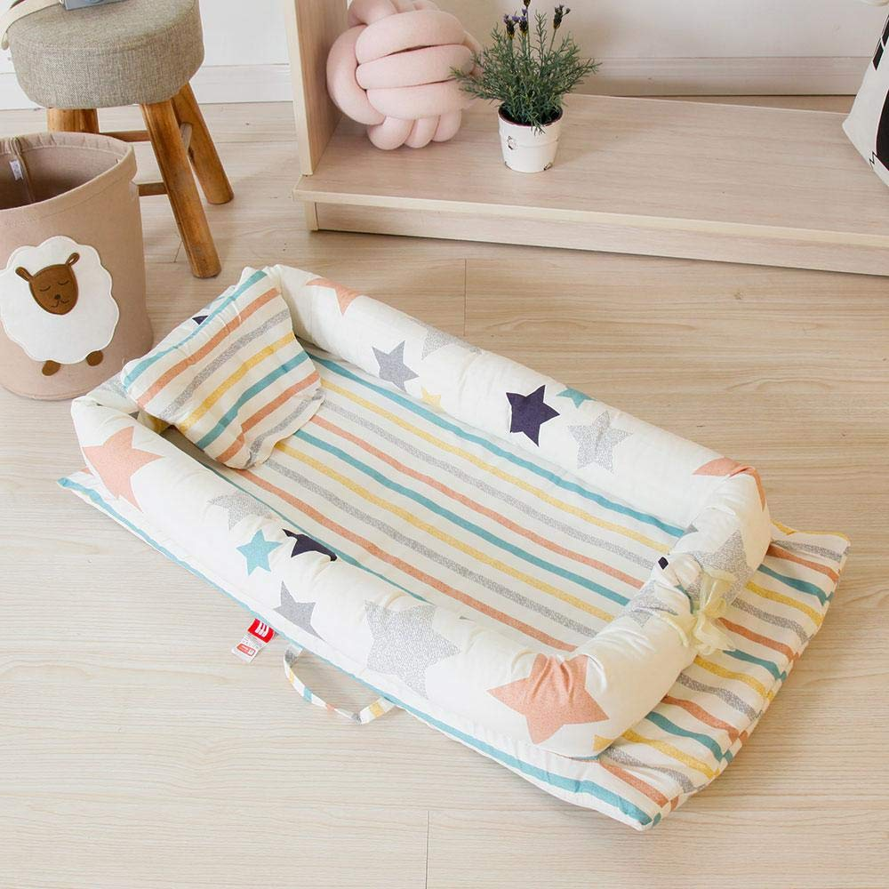Aolvo Snuggle Nest Baby Lounger Newborn Lounger Portable Baby Bassinet Newborn Lounger Cover Baby Co-Sleeping Cribs 100/% Organic Cotton Breathable and Hypoallergenic for 0-24 Months