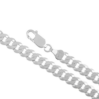 """24/"""" 4MM 6MM 8MM Womens Men Necklace 925 Sterling Silver Plated Curb Chain 18/"""""""