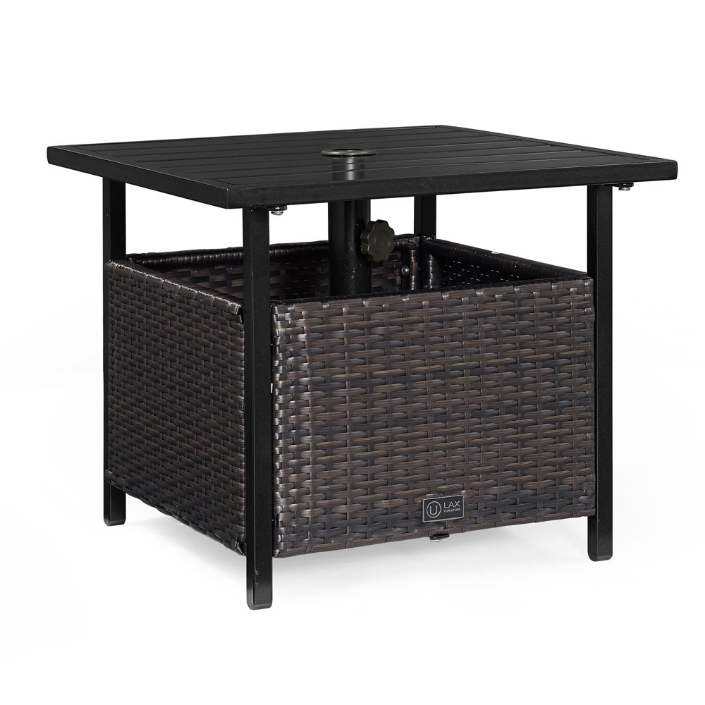Ulax Furniture Patio Outdoor Wicker Umbrella Stand Bistro Table, Side Table