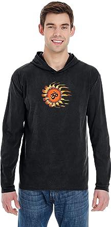 Yoga Clothing For You Orange Brushstroke AUM Pigment Hoodie Yoga Tee Shirt