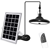 Upgraded Solar Pendant Light Motion Sensor JACKYLED Outdoor LED Hanging Solar Shed Light with Remote Control 16.4Ft Cord…
