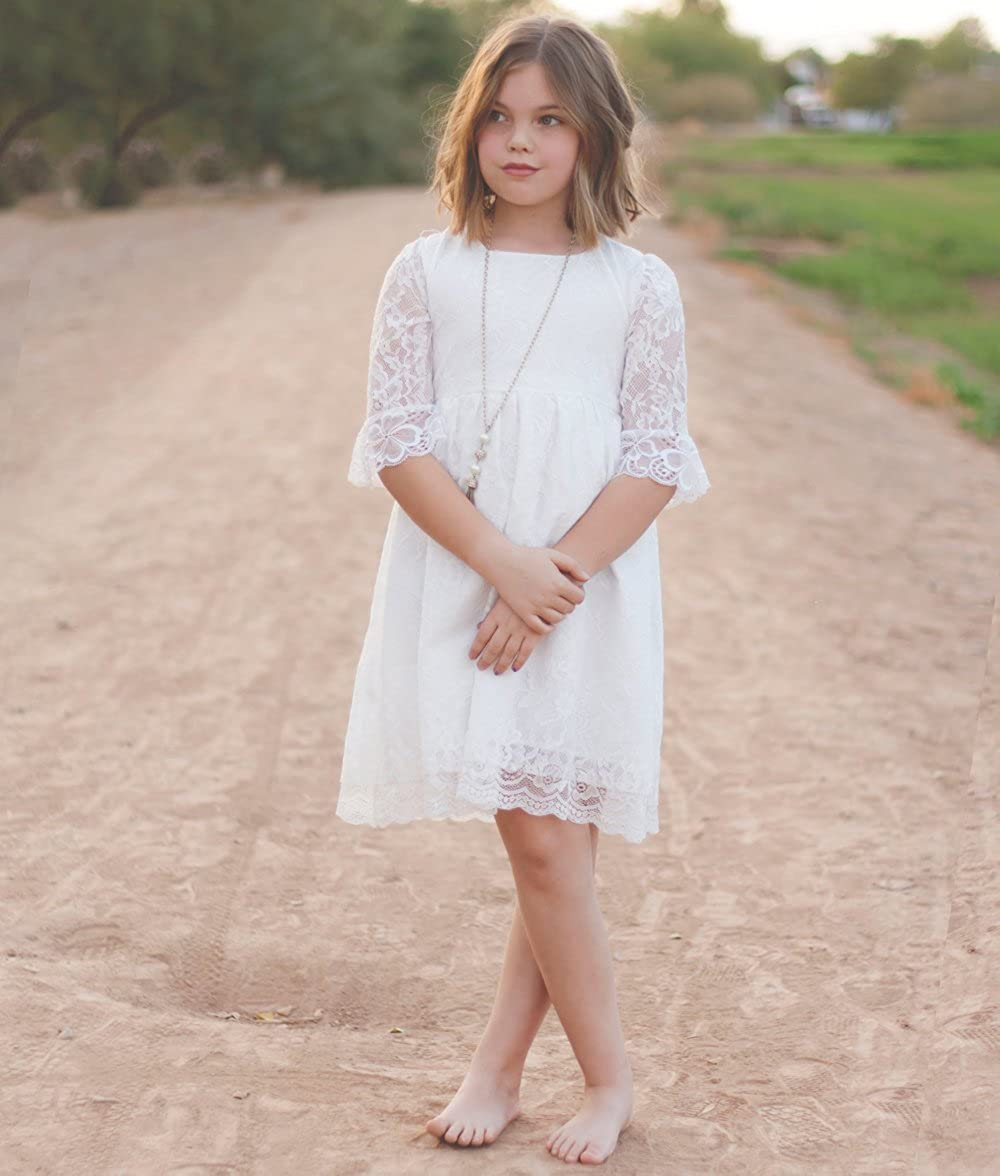 Vintage Flower Girls Lace Dresses with Sleeves Kids Party Gowns Prom Dress
