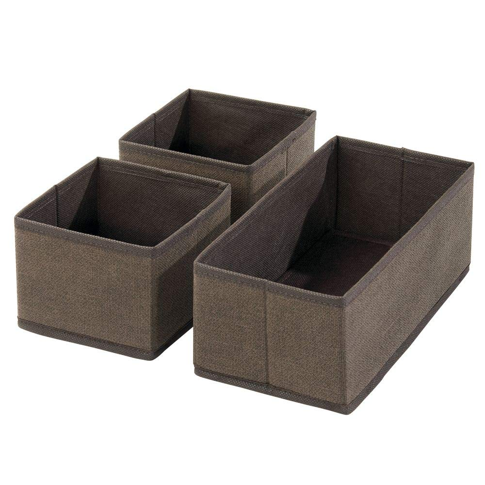 Shelves Set of 12 in 2 Sizes Cream//Espresso Brown MetroDecor 06822MDCO Drawers Clothing//Accessory Organizing Bins mDesign Soft Fabric Dresser Drawer and Closet Storage Organizer for Bedroom Closet