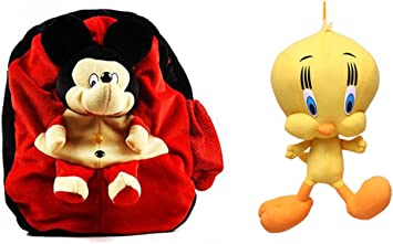 Swastikunj Combo of Yellow Duck(40 Cm) and Cute Red Mouse Plush Kids School/Picnic Bag
