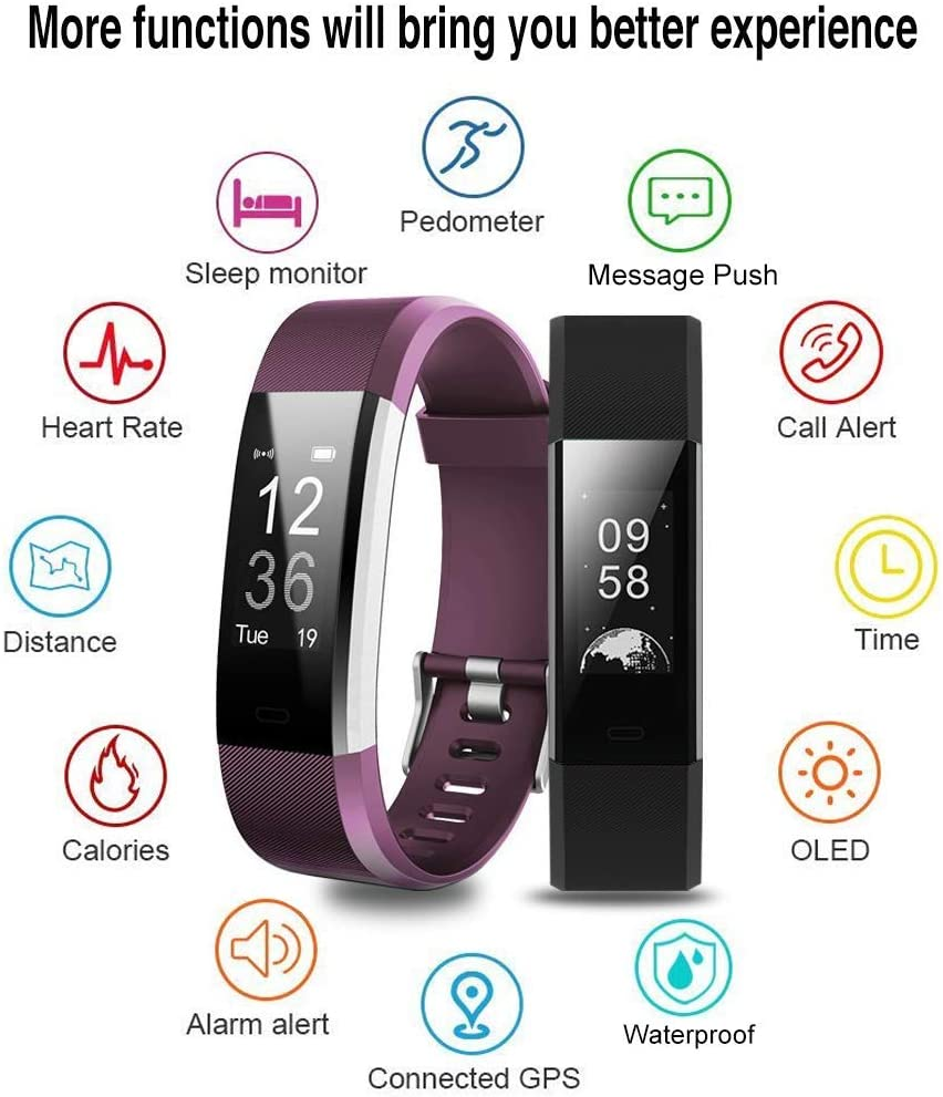 Ginsy Fitness Tracker, Fitness Watch Heart Rate Monitor Waterproof Bluetooth Pedometer Wristband Sleep Monitor Smart Watch iOS Android Smart Phone