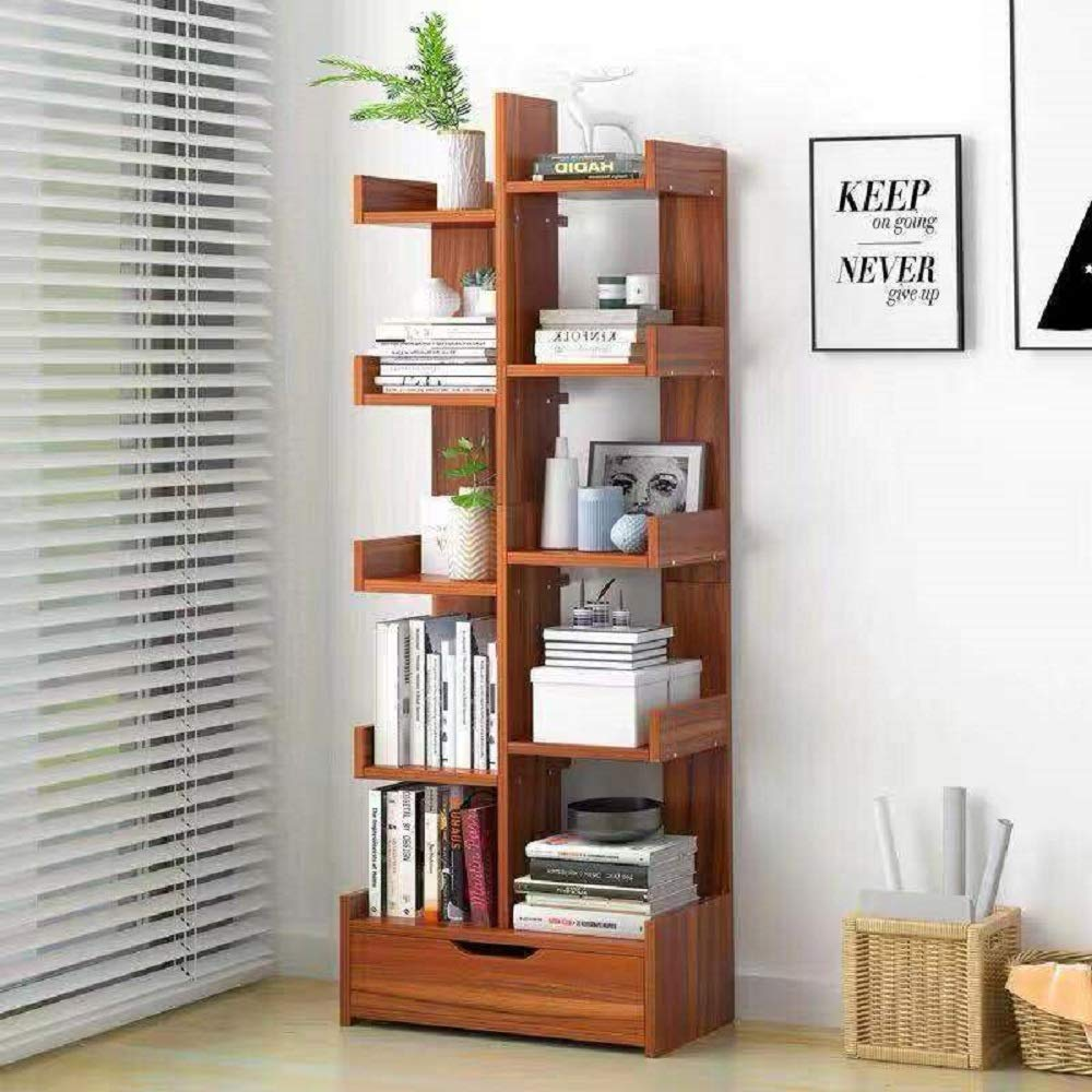 Hicy Modern Wood Bookshelf,Floor-Standing Bookcase,Display Storage Rack (Walnut) (Walnut 3) by Hicy