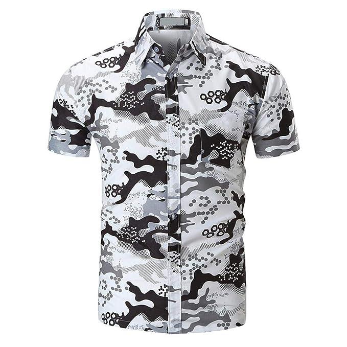 Resplend La Blusa Superior de la Camisa Impresa Manga Corta Delgada Ocasional de los Hombres de