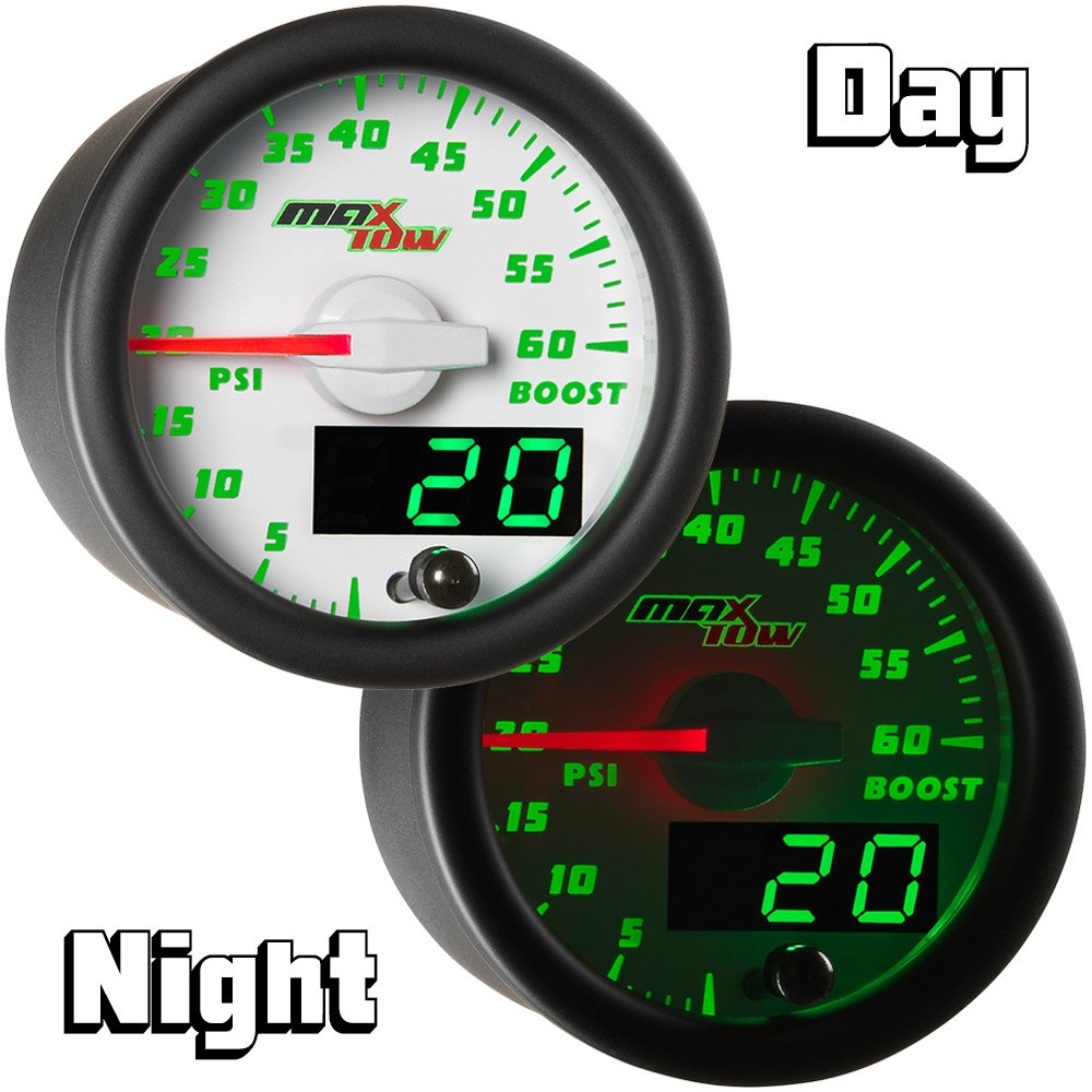 For Diesel Trucks Includes Electronic Sensor 2-1//16 52mm MT-WDV11/_30 White Gauge Face Analog /& Digital Readouts MaxTow Double Vision 30 PSI Fuel Pressure Gauge Kit Green LED Illuminated Dial