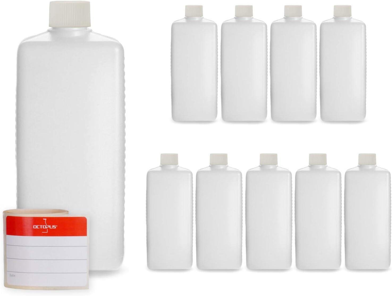 10 botellas de plástico de Octopus de 500 ml, botellas de plástico de HDPE con blanco tapones de rosca, botellas vacías con tapas de blanco rosca, botellas rectangulares con 10 etiquetas para marcar