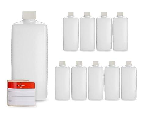 10 botellas de plástico de Octopus de 500 ml, botellas de plástico de HDPE con blanco ...