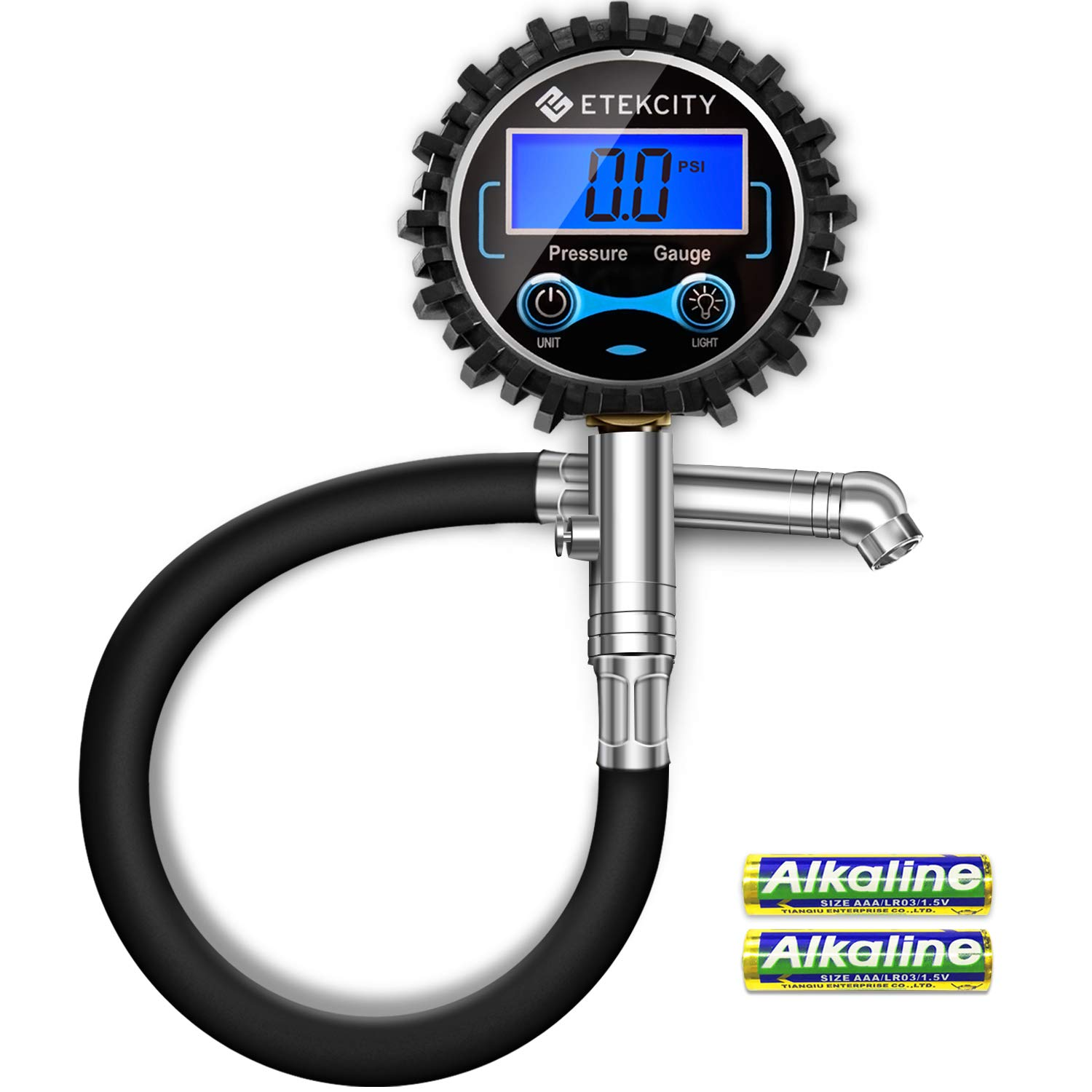 Etekcity Digital Tire Pressure Gauge 230 PSI with Backlit LCD Display Air Bleed & Rubber Hose, Heavy Duty Accurate 0.1 Resolutionfor Truck, SUV, RV, Motorcycle, Batteries Included, 2-Year Warranty