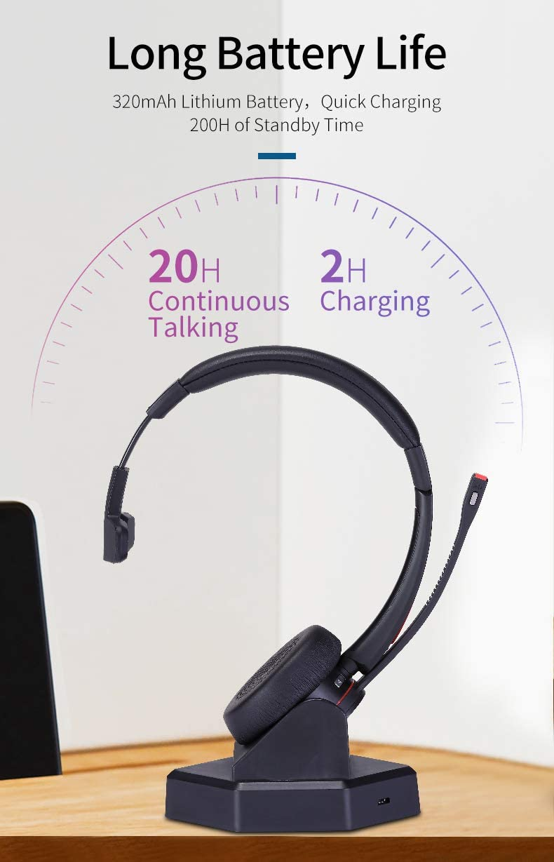 MAIRDI Wireless Telephone Headset with Noise Cancelling Microphone for Call Centers Office Bluetooth Headset for Cell Phone PC Skype Softphone Car Trucker Driver Over The Head with Charging Dock