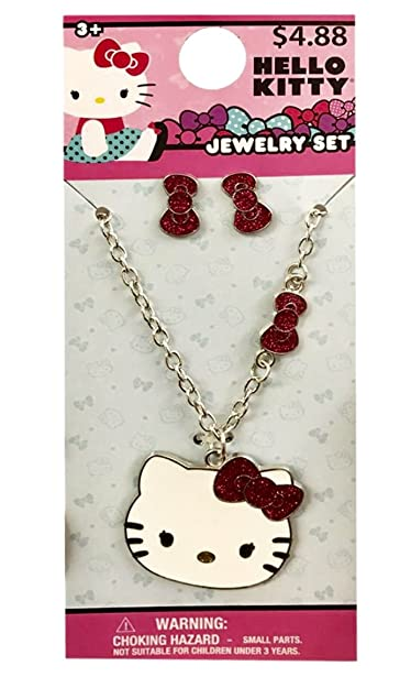 54fba39bd Amazon.com: Hello Kitty 6 Pairs Earrings or Hello Kitty Necklace With  Earrings Set For Girls (+3 years) (Necklace with Earrings set): Jewelry