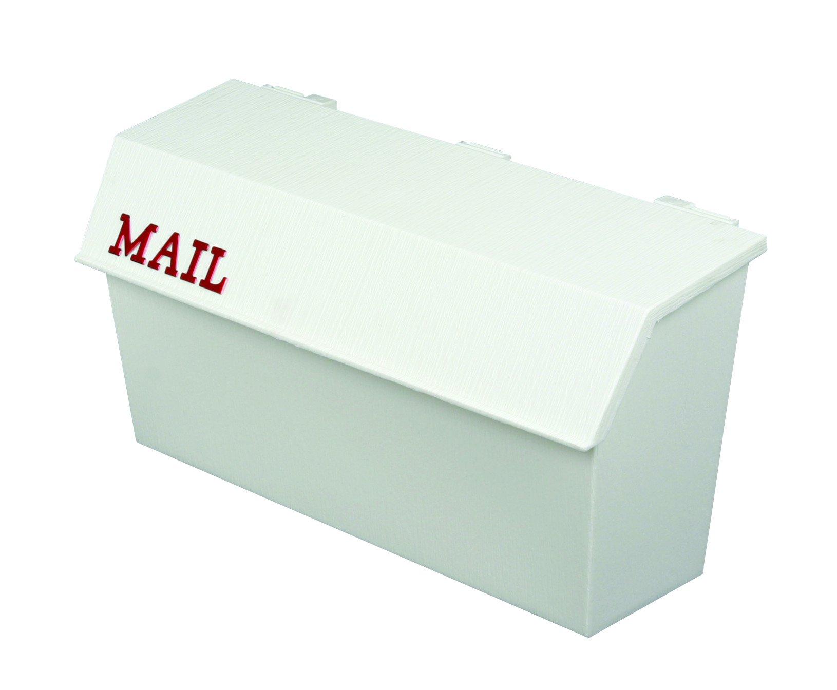 Flambeau T-H6003WT Classic Wall Mount Mailbox, Wood Grain Texture, White