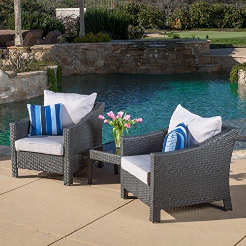 3 Piece Wicker Chair (Caspian 3 Piece Grey Outdoor Wicker Furniture Chat Set)