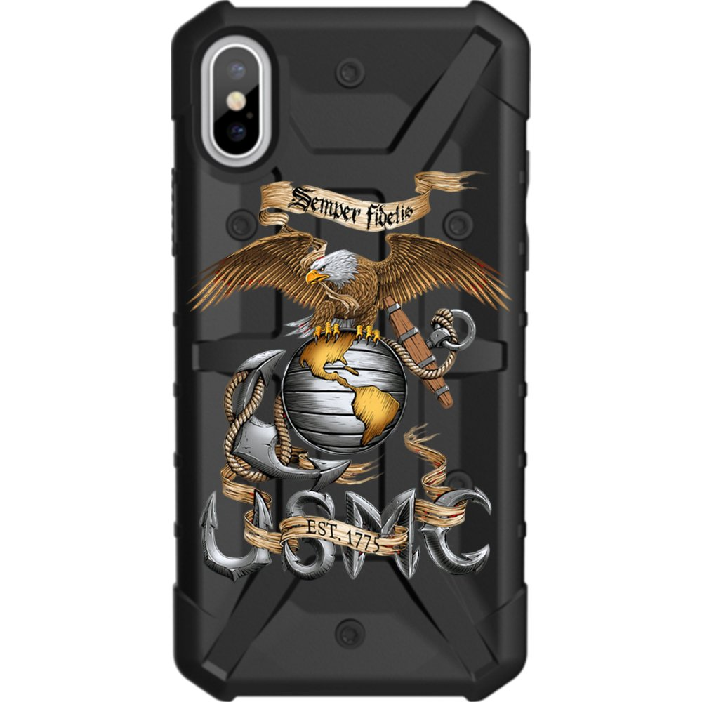 Limited Edition - Customized Designs by Ego Tactical Over a UAG- Urban Armor Gear Case for Apple iPhone X/Xs (5.8'')- Black, Gold US Marine Corps