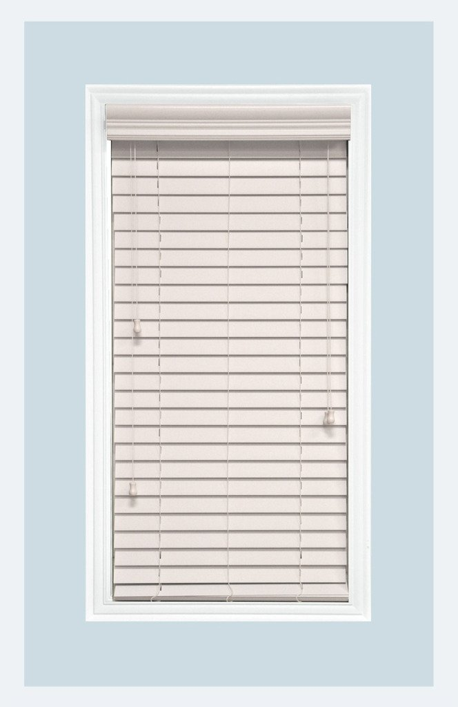 Delta Blinds Supply Custom-Made, Faux Wood Horizontal Window Blinds, 2 Inch Slats, Snow White, Inside Mount by Delta Blinds Supply (Image #1)