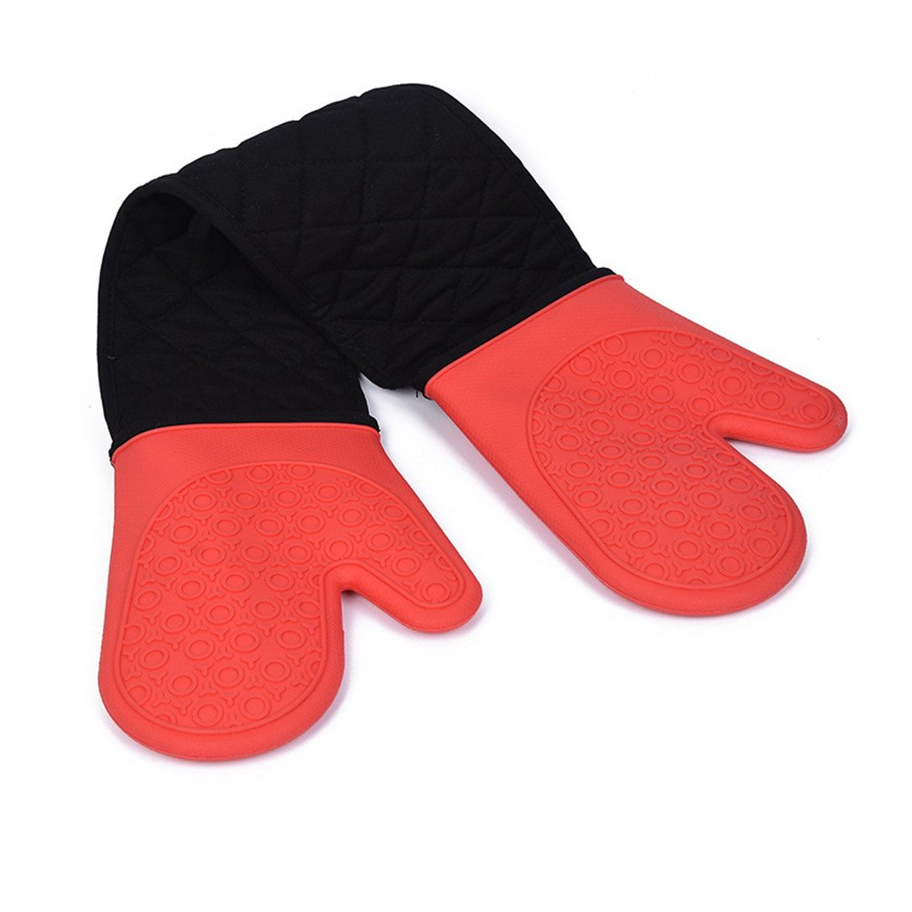 "DoMii Connected Oven Mitts All-In-One Potholder Gloves Heat Resistant Quilted Silicone Oven Mitts 33.8"" x 7"""
