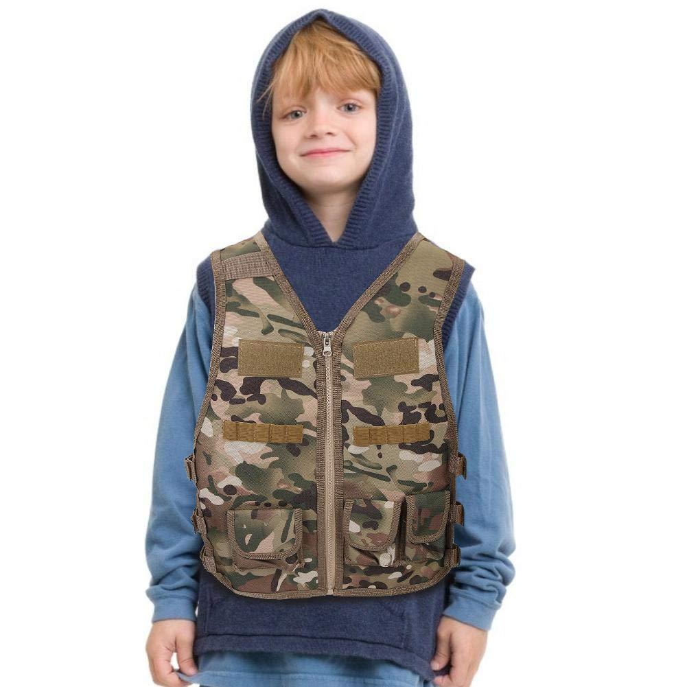 Alomejor Enfants Camouflage Gilet Enfants Camo Gilet Veste Nylon Arm/ée Camouflage Gilet pour Enfants Jeux Formation