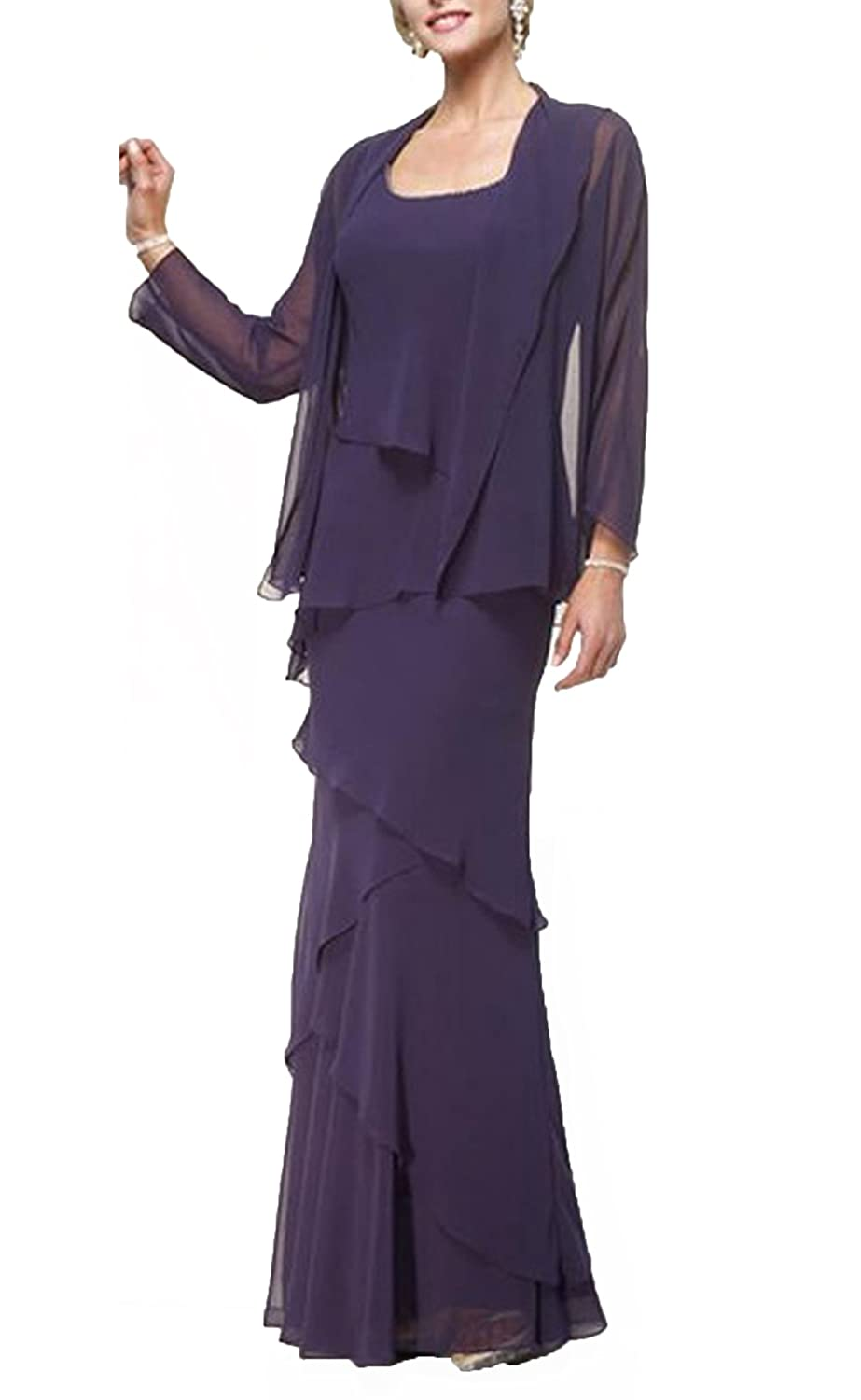 PROMNOVAS Womens Chiffon Two Pieces Mother of The Bride Dress with Jacket