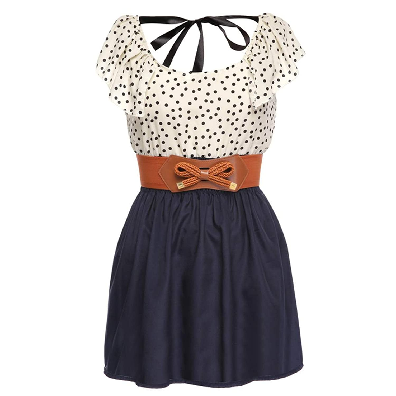 Zeagoo Damen Sommerkleid Punkt Chiffon Shirt Mini Kleid Abendkleid Gürtel Dress
