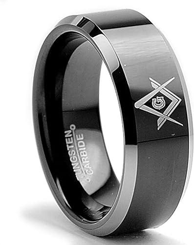 Promise Rings For Him Personalized Ring Beveled Edges 2 Tone Black Tungsten Ring Men Masonic Tungsten Wedding Band Men Mens Wedding Band
