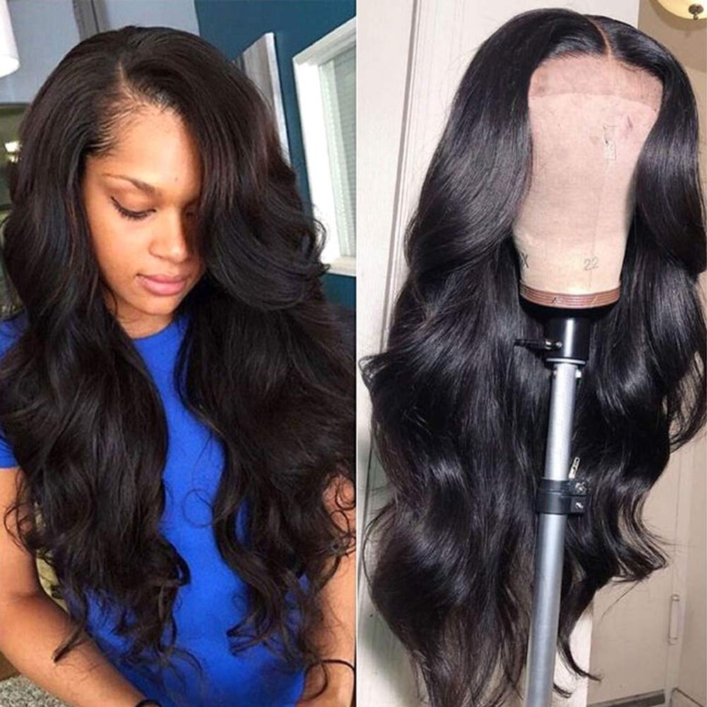 Lace Front Human Hair Wigs for Women Pre Plucked Hairline 150% Denisty Brazilian Body Wave Lace Front Wigs with Baby Hair Natural Color (16Inch) by Wingirl
