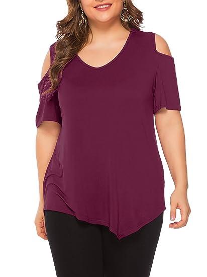 Beluring T-Shirt da Donna di Grandi Dimensioni Taglie Forti Top a Manica Lunga con Scollo a V Camicetta Casual