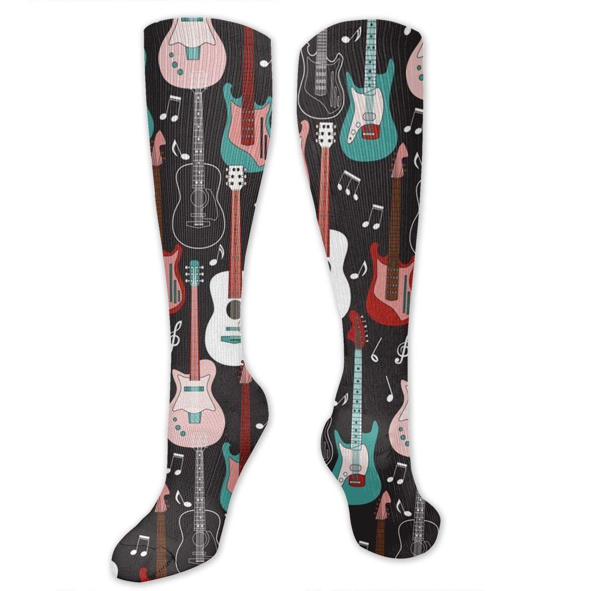 Guitar Rock And Roll Unisex Sports Socks Tube Socks Knee High Compression Sports Athletic Socks Tube Stockings Long Socks