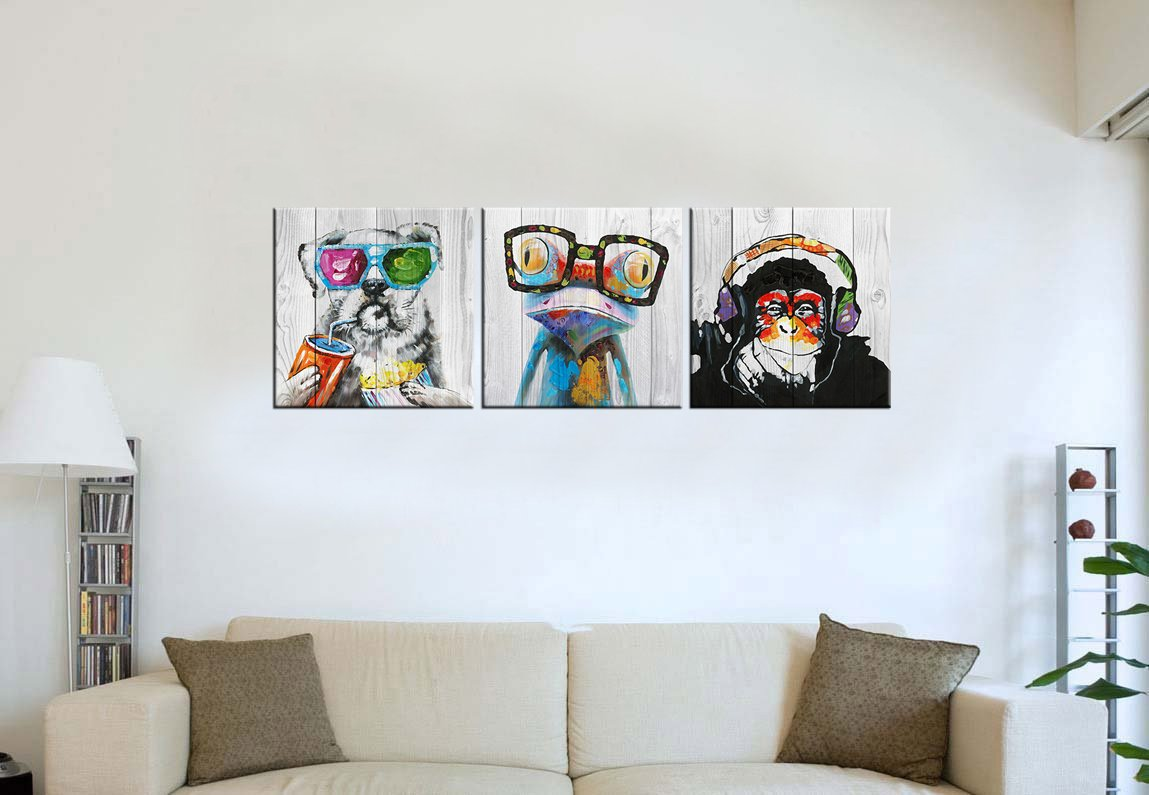 """Abstract Animal Painting Canvas Prints Cool Dog Eat Breakfast & Gorilla Monkey Listen Music & Frog Wear Glasses on Vintage Wood Wall Art 16""""x16""""x3 by Kolo Wall Art (Image #3)"""