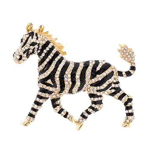 Rhinestone Crystals Horse Zebra Brooch Pin Broach Women Jewelry FA5084 DHQzV0ssr4