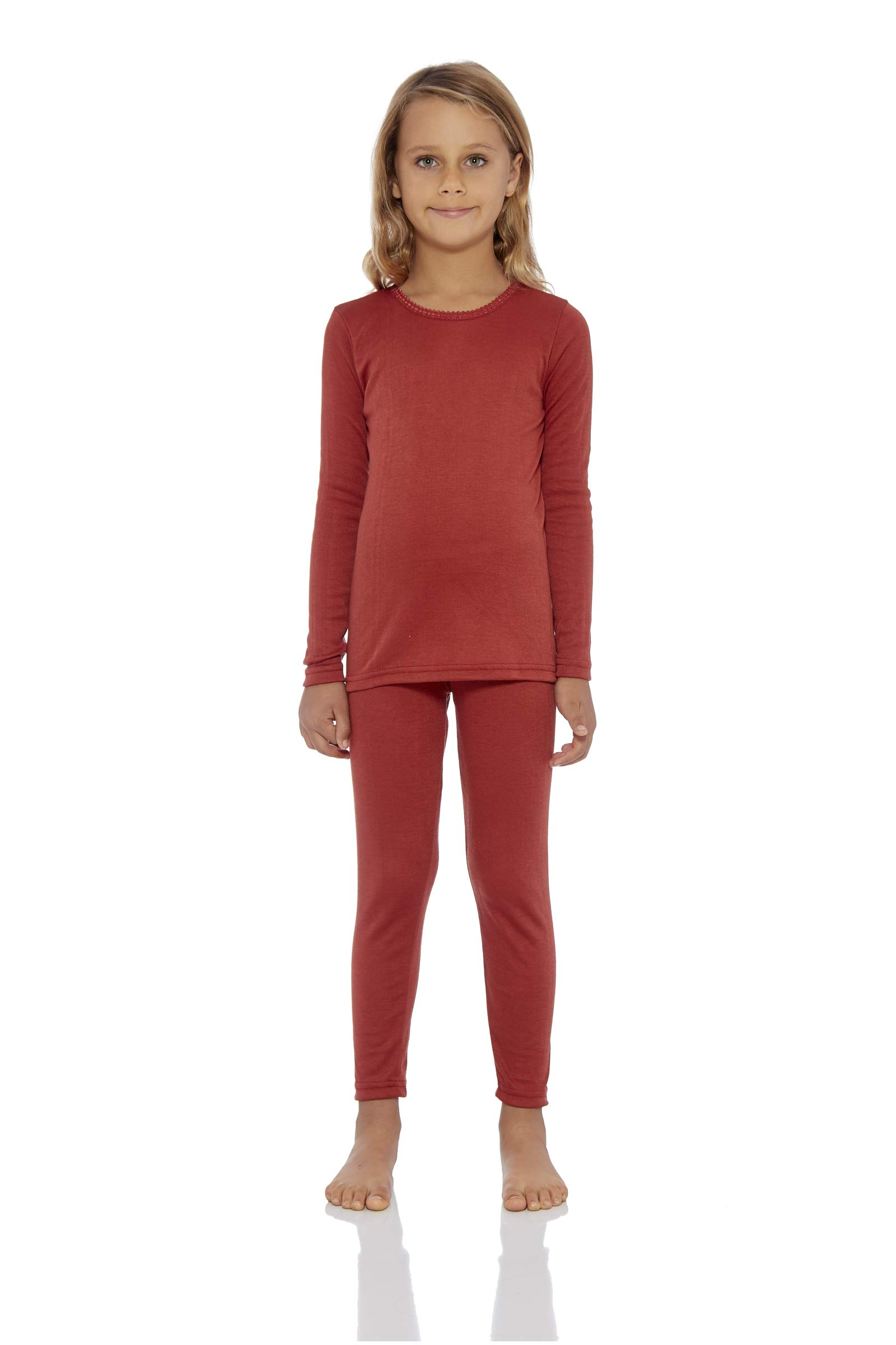 Rocky Girl's Smooth Knit Thermal Underwear 2PC Set Long John Top and Bottom Pajamas (Rust, L) by Rocky