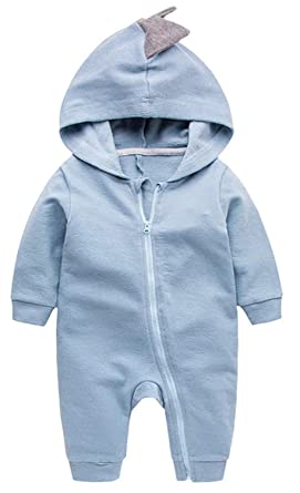 ef4fef0de7883 Newborn Infant Baby Boy Girl Cartoon Clothes Dinosaur Shark Hoodie Romper  Jumpsuit Onesie Outfit Set