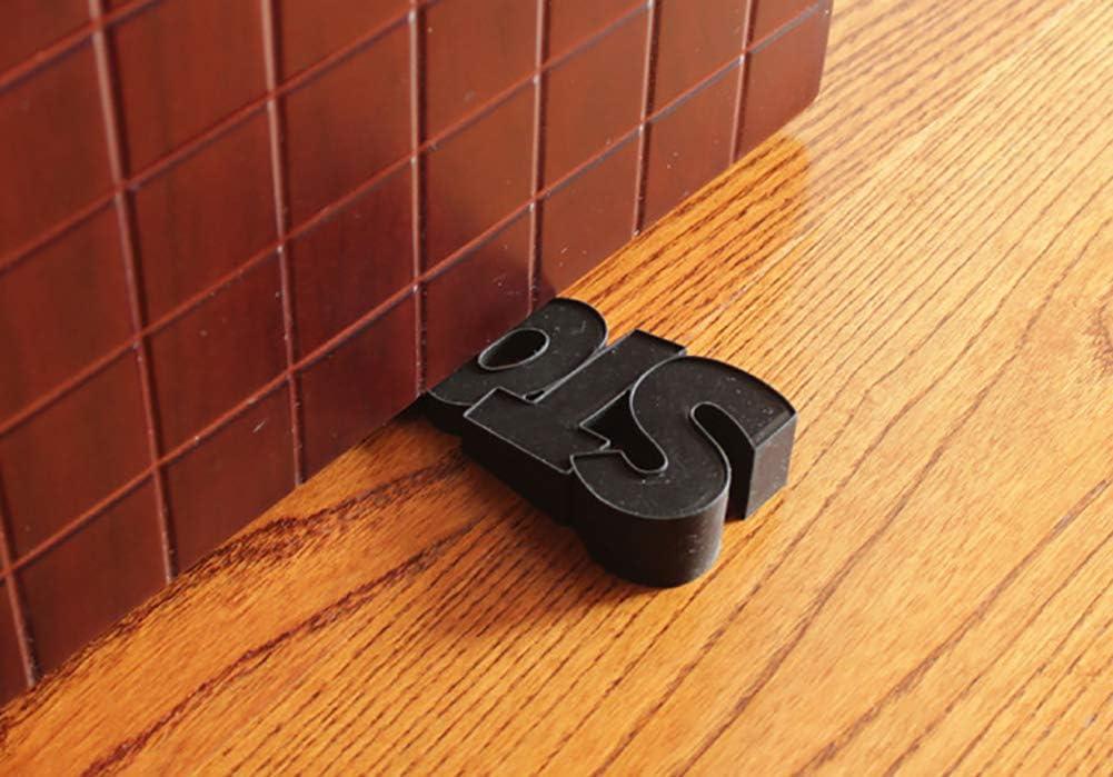 ChezMax Rubber Door Stopper Security Door Stop Gate Wedge Cute Door Holder Decorative Doorstop for Kids Bedroom Playing Room Black