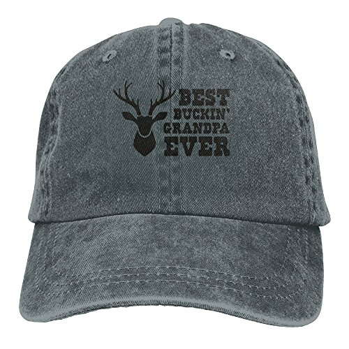 SKXJ0IOAI TeeStars - Best Buckin Grandpa Ever - Funny Hunting Gift For Unisex Flat Bill Hip Hop Cap Baseball Hat Head-Wear Cotton Snapback Hats Asphalt