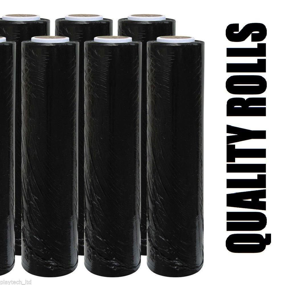 6 X STRONG ROLLS BLACK PALLET STRETCH SHRINK WRAP CAST PARCEL PACKING CLING FILM Playtech LTD
