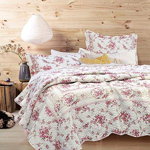 English Rose King Quilt - Cozy Line Home Fashions Vintage Rose 3-Piece Quilt Bedding Set, Pink Floral Flower Printed 100% Cotton Reversible Coverlet Bedspread Gifts for Women (Rose, King - 3 Piece)