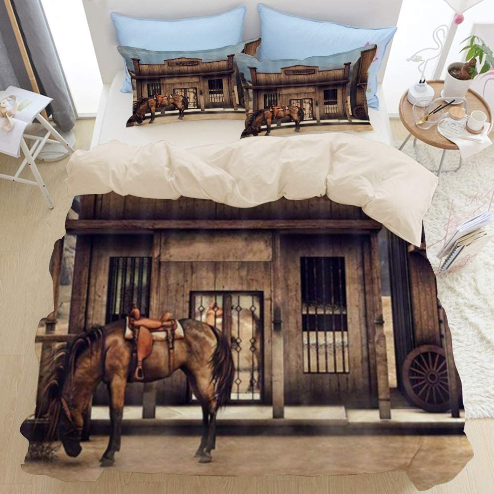TARTINY Beige Duvet Cover Set, Native American Western Cowboy Wild West Town Scenery with Animals Horse in Front of Rustic Wooden Bank, Decorative 3 Piece Bedding Set with 2 Pillow Shams