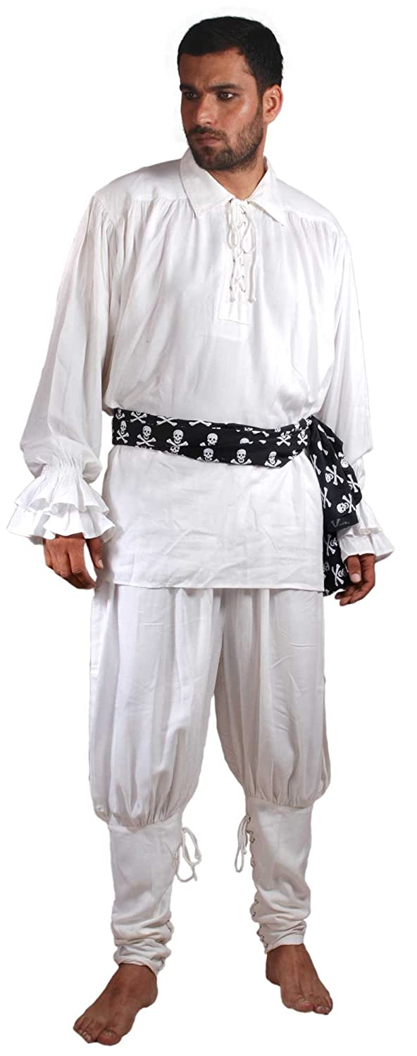 Pirate Captain Cottuy White Pirate Pants Costume