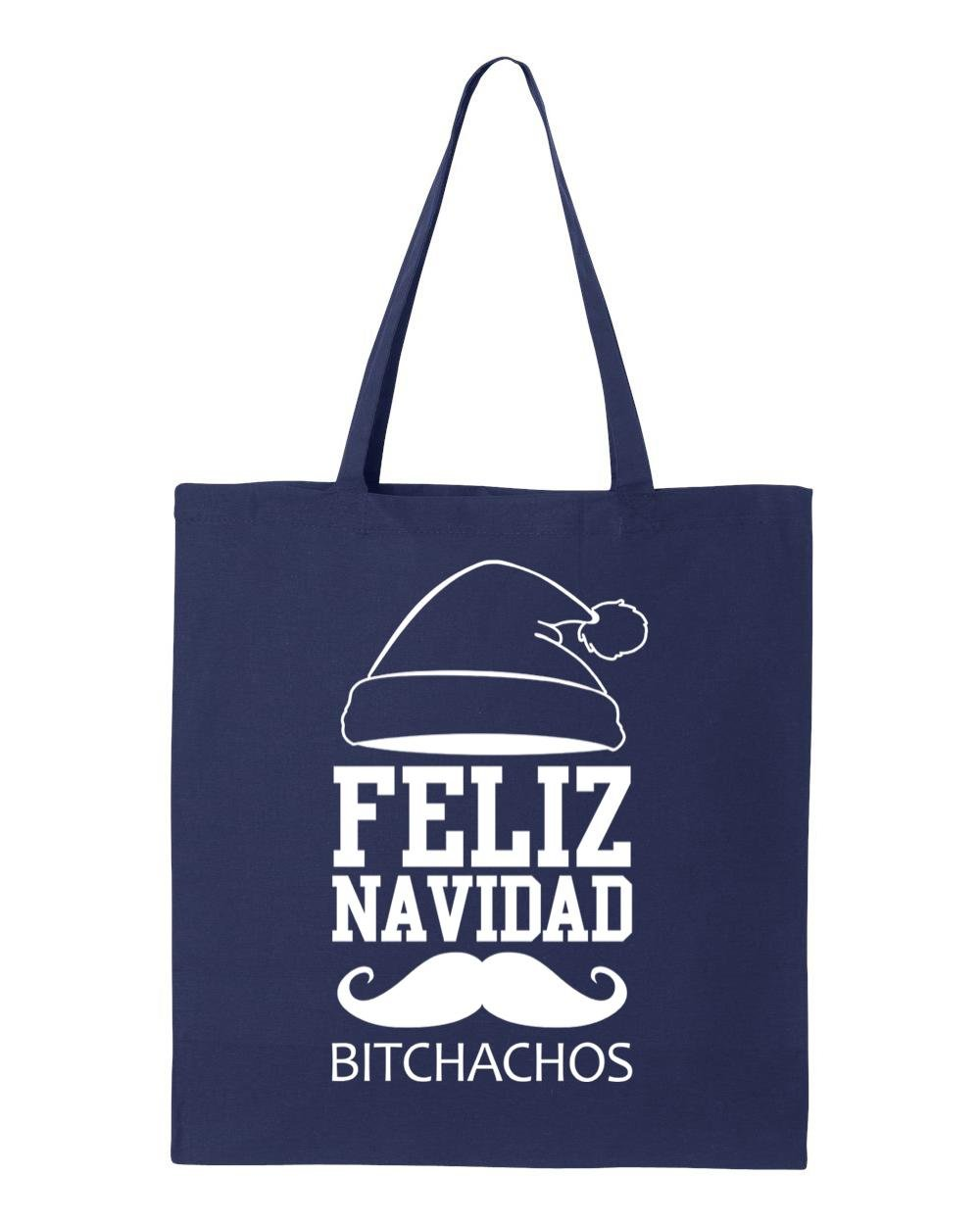 shop4ever Feliz Navidad BitchachosホワイトトートバッグMerry Christmas再利用可能なショッピングバッグ6オンスコットンキャンバス 6 oz ブルー S4E_1215_FelizWht_TB_8502_Navy_3 B072NZCFMV  ネイビー