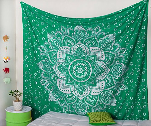 Popular Handicrafts The Passion Silver Ombre Tapestry Wall hanging Indian Mandala Wall Art, Hippie Wall Hanging, Bohemian tapestries (215x230cms) Teal Green and (Green Tapestry)