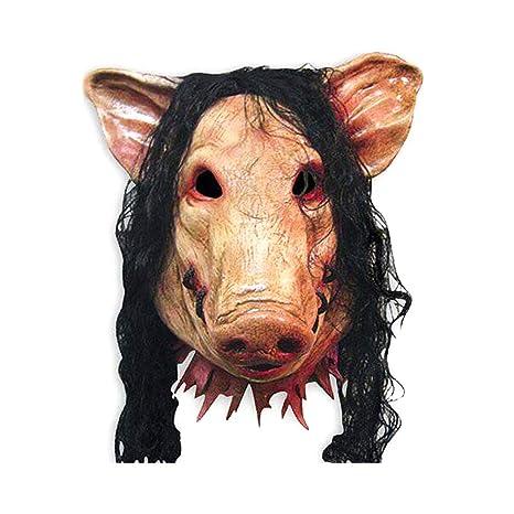 Hosaire 1x Máscara de Terror Halloween Cabeza de Cerdo con Cabello Novedad de Látex de Caucho
