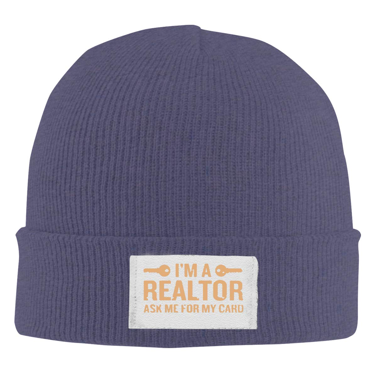 Im A Realtor Dyed Washed Top Level Beanie Men Women Unisex Stylish Slouch Beanie Hats Black