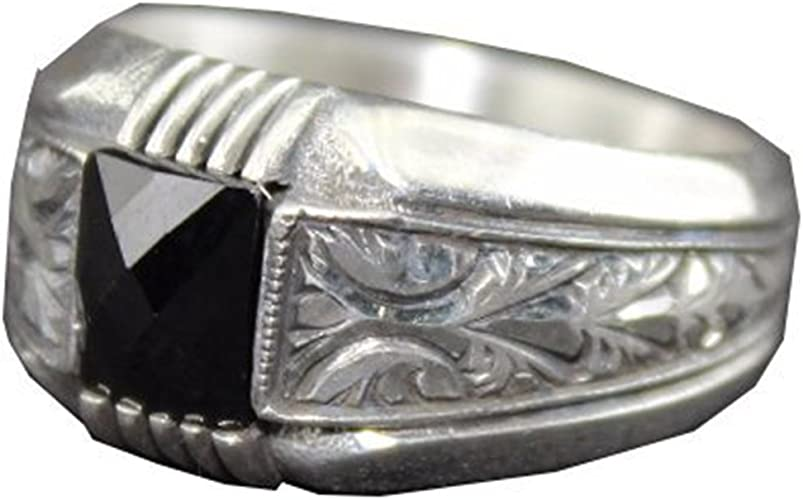 Falcon Jewelry Sterling Silver Men Ring Onyx Natural Gemstone