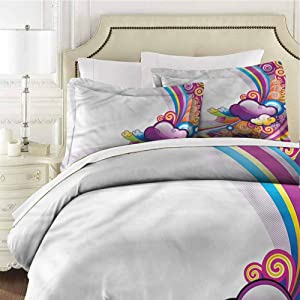 Cartoon Twin Size Sheet Set-3 Piece Set,Comforter Set Bed Comforter Bedding Set Rainbow Colored Clouds Easy Care Bedding Cover Washed Microfiber